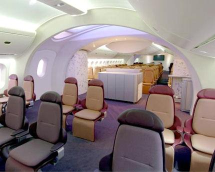 Вътрешността на Dreamliner