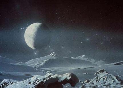Замръзналата повърхност на Плутон, заедно със спътника му Харон, според един художник