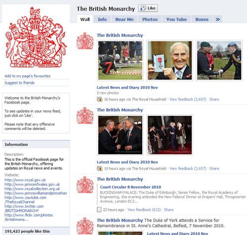 Страницата на британското кралско семейство