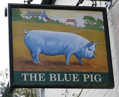 Синьото прасе - табела на кръчма