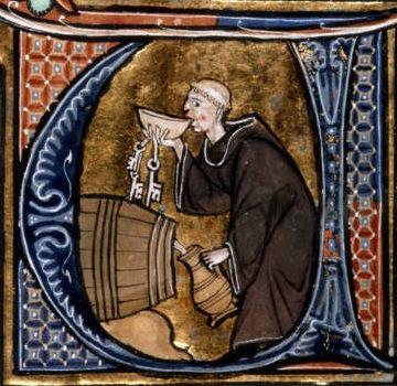 Средновековен монах пие вино