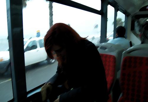 В автобуса