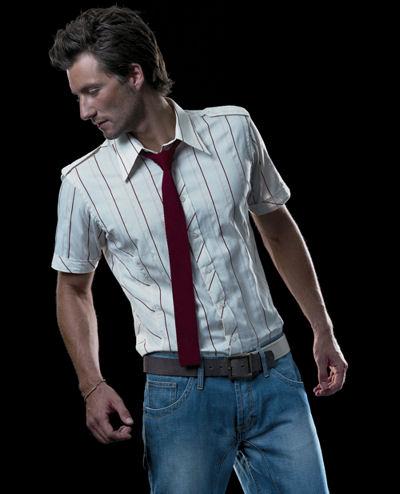 Риза с къс ръкав с вратовръзка