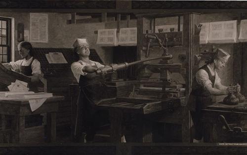 Бенджамин Франклин в печатницата си